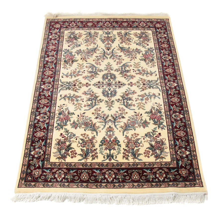 4'0 x 6'3 Hand-Knotted Indo Persian Sarouk Rug, 2000s
