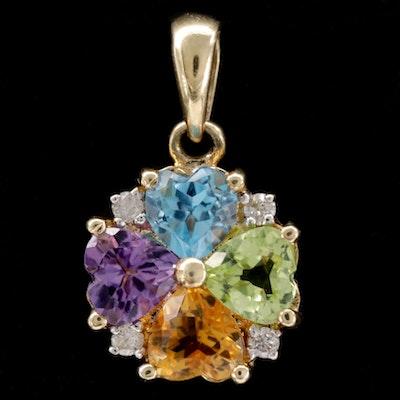 10K Blue Topaz, Peridot, Citrine, Amethyst and Diamond Pendant