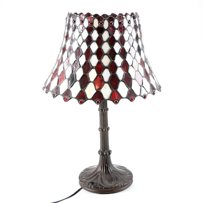 Bronze Finish Table Lamp with Harlequin Slag Glass Shade