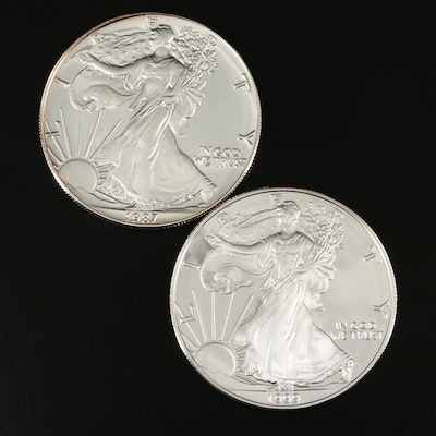 Two $1 U.S. Silver Eagle Proof Coins Including 1987-S and 1999-P