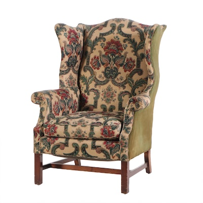 Paine Furniture Chippendale Style Mahogany Wingback Chair