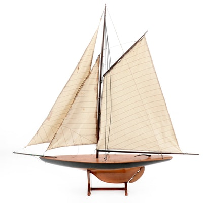 Handcrafted Schooner Model with Three Masts on Wood Stand, Mid-20th Century