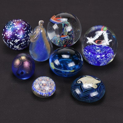 Handmade Blue Art Glass Paperweights Featuring Murano