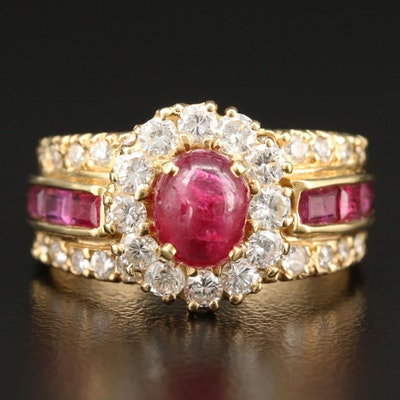 18K Yellow Gold Ruby and 1.28 CTW Diamond Ring