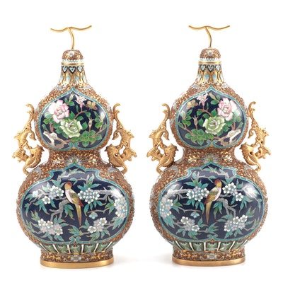 Pair of Chinese Cloisonné Enamel Double Gourd Covered Vases, 1980s