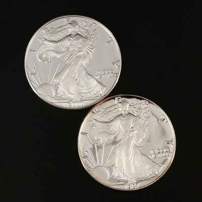 Two $1 U.S. Silver Eagle Proof Coins Including 1987-S and 2000-P