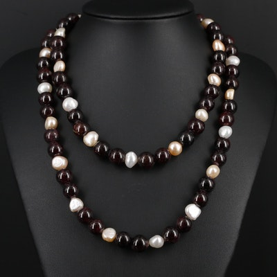 Garnet and Pearl Necklace With Sterling Silver Clasp