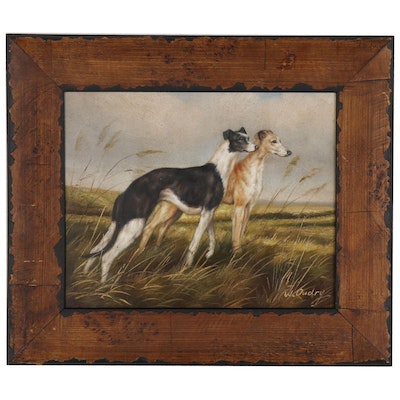 W. Oudry Oil Painting of Hunting Dogs, Late 20th Century