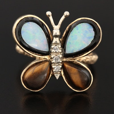 14K Yellow Gold Diamond, Tiger's Eye, Opal and Black Onyx Doublet Butterfly Ring