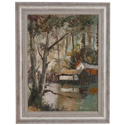 Landscape Oil Painting of Swamp with Stilt Houses , 20th Century
