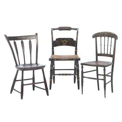 Three Painted and Gilt-Stenciled Side Chairs, 19th to 20th Century