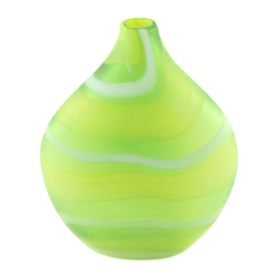 Frosted Green Banded Art Glass Flask Vase