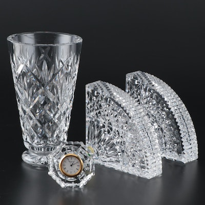 "Waterford Crystal ""Quadrant"" Bookends, Desk Clock and Vase"