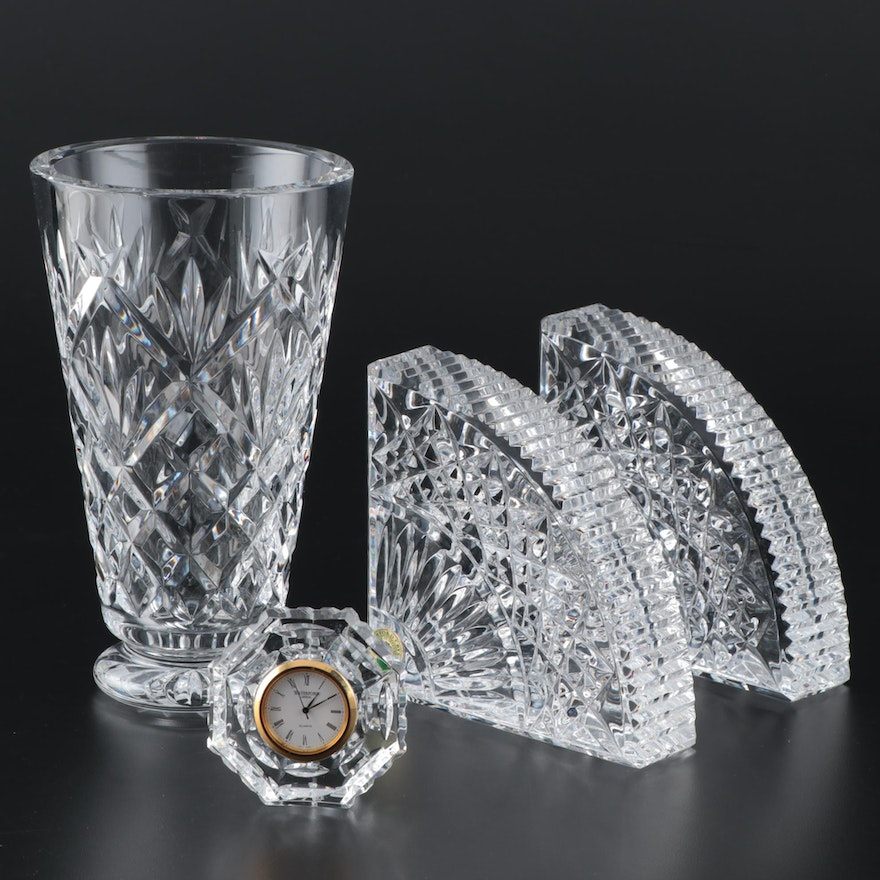 """Waterford Crystal """"Quadrant"""" Bookends, Desk Clock and Vase"""