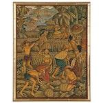 Balinese Folk Style Acrylic Painting of Farm Scene