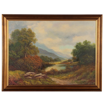 "Paul Wesley Oil Painting ""Catskill Beauty"", Early 20th Century"