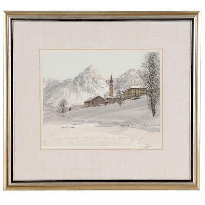 Hans Figura Etching with Aquatint of Austrian Mountain Village