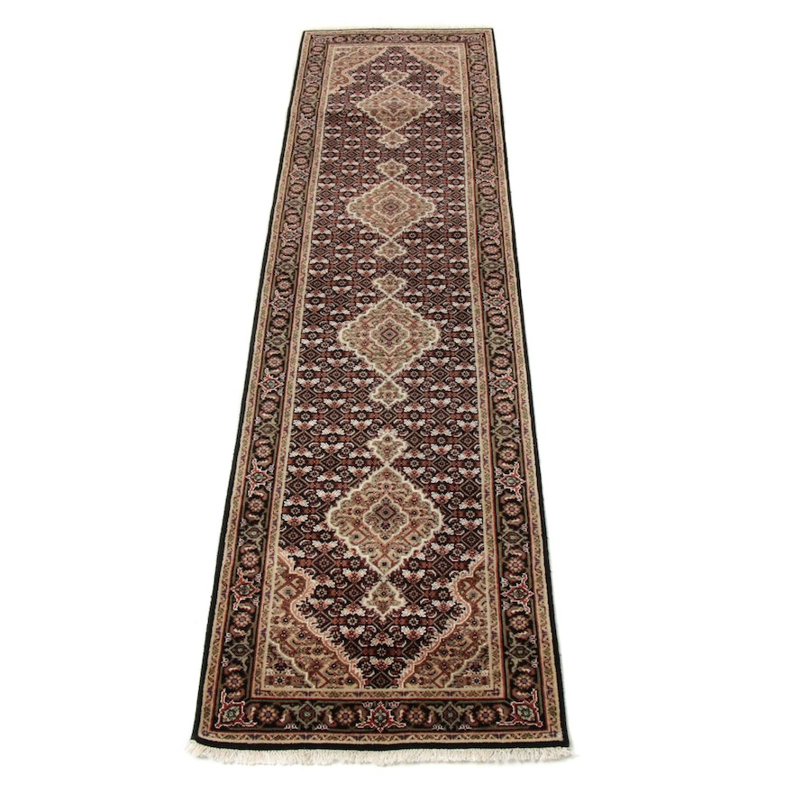 2'6 x 10'1 Hand-Knotted Indo-Persian Tabriz Silk and Wool Rug Runner, 2010s