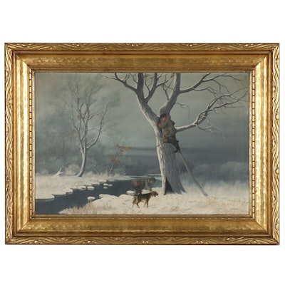 Oil Painting of Winter Hunting Scene, Late 20th Century