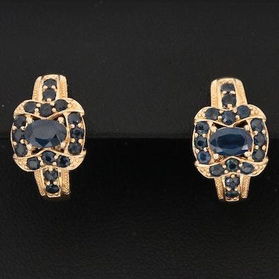 14K Yellow Gold Sapphire Hoop Earrings