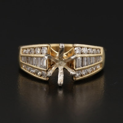 18K Yellow Gold 1.00 CTW Diamond Semi-Mount Ring