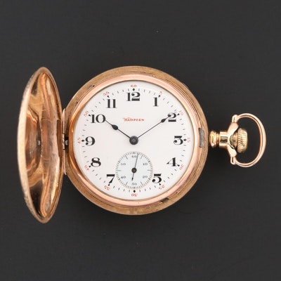 Antique Hampden 14K Gold Filled Hunting Case Pocket Watch, 1906