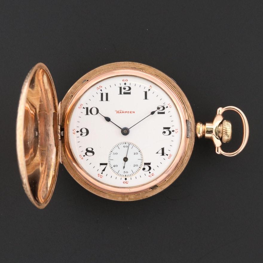 Antique Hampden 14K Gold Filled Hunting Case Pocket Watch, 1906