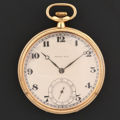 Antique Waltham For Tiffany & Co. 18K Gold Open Face Pocket Watch