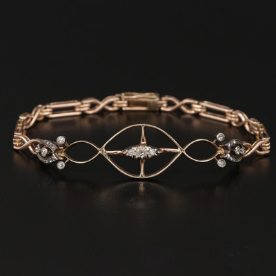 Vintage 10K and 14K Yellow Gold Diamond Bracelet with Sterling Accents