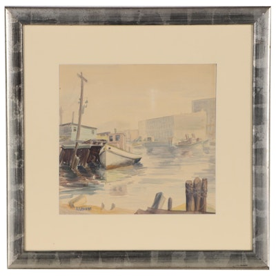 Reginald Grooms Watercolor Painting of Harbor Scene