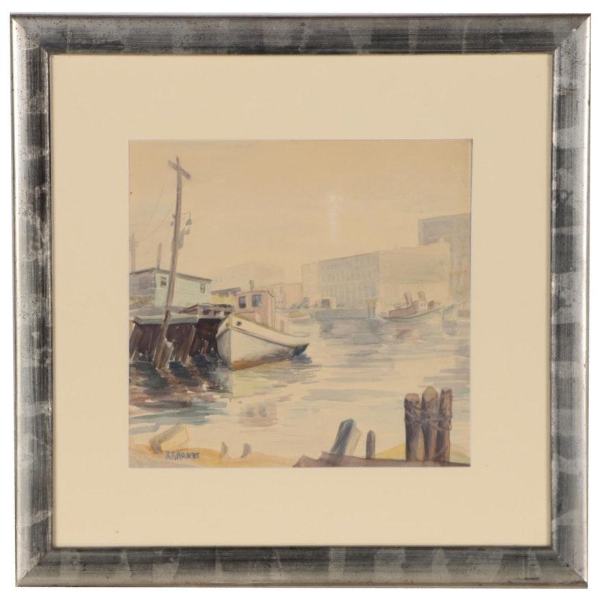 Reginald Grooms Watercolor Painting of Harbor Scene