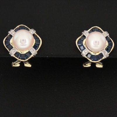 14K Yellow Gold Cultured Pearl, Diamond and Sapphire Stud Earrings