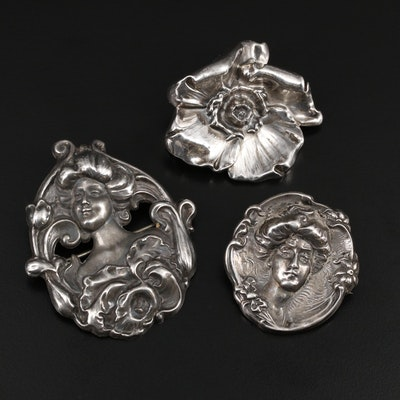 Art Nouveau Sterling Silver Brooches