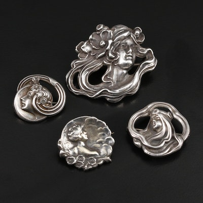 Art Nouveau Sterling Silver Brooches Featuring Female Figures