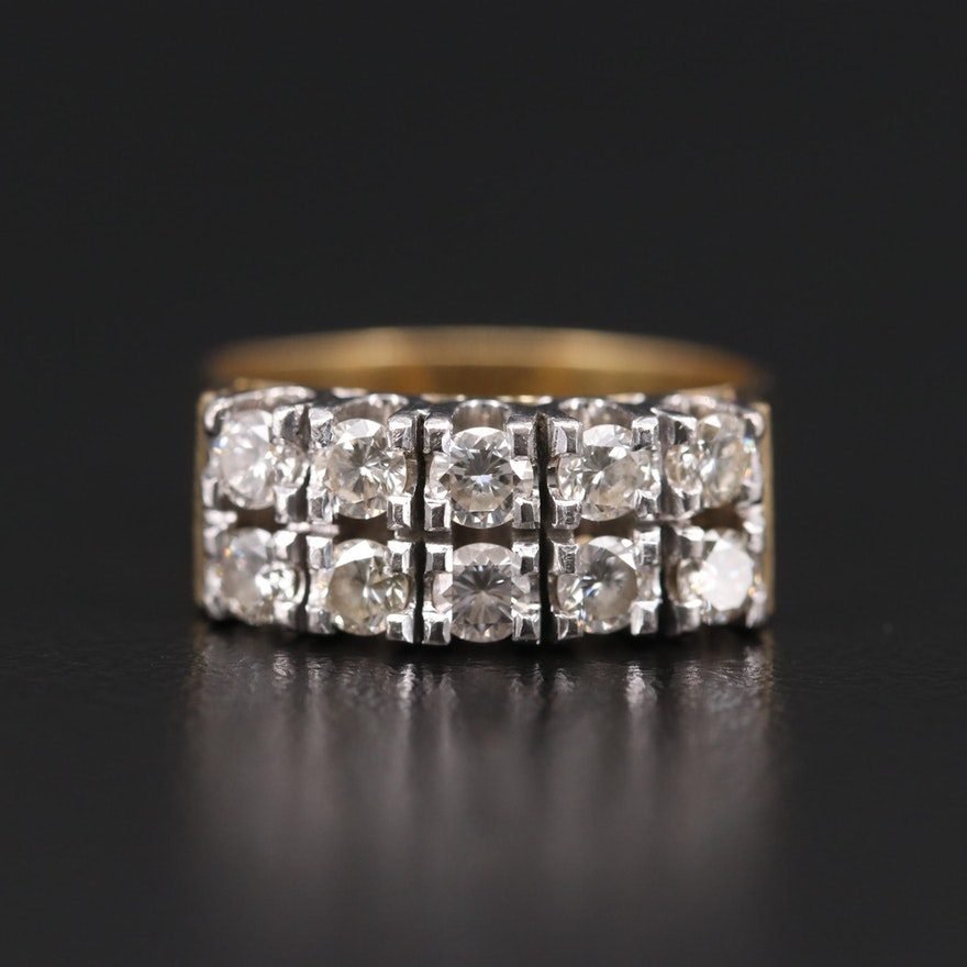 18K Yellow Gold 0.95 CTW Diamond Ring