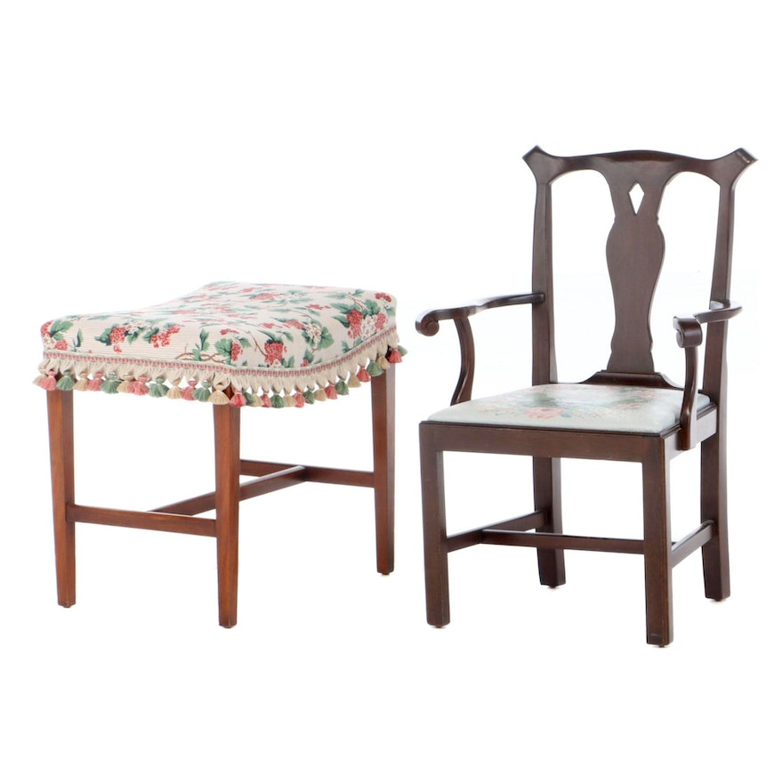 Chippendale Style Mahogany Child's Armchair Plus Federal Style Mahogany Stool