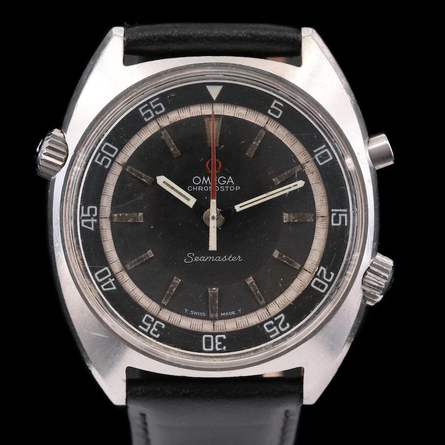 Vintage Omega Seamaster Chronostop Stainless Steel Stem Wind Wristwatch, 1968