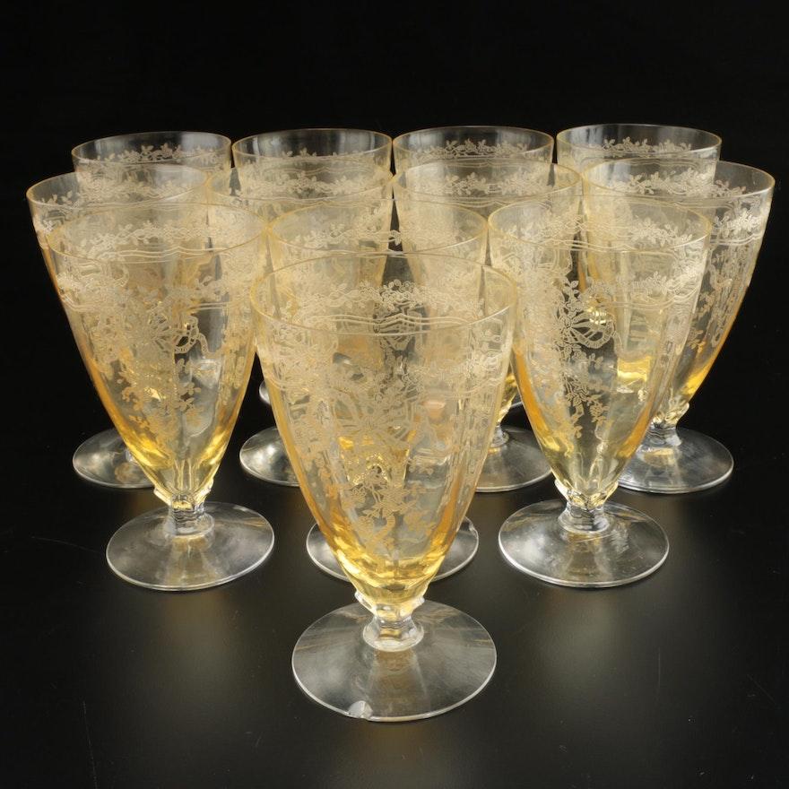 """Fostoria """"June Topaz"""" Etched Parfait Glasses, 1920s-1930s"""