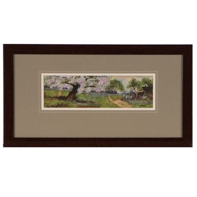 Jeanette Smalley Watercolor Painting of Pastoral Landscape