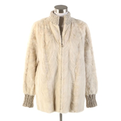 I. Magnin Sculpted Rabbit Fur Jacket with Cable Knit Collar and Cuffs, Vintage