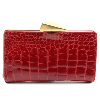 De Vecchi by Hamilton Hodge American Alligator Skin Clutch in Red
