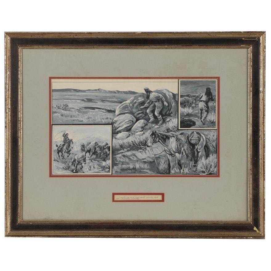 Al Martin Napoletano Gouache Western Illustration of Native American Scenes