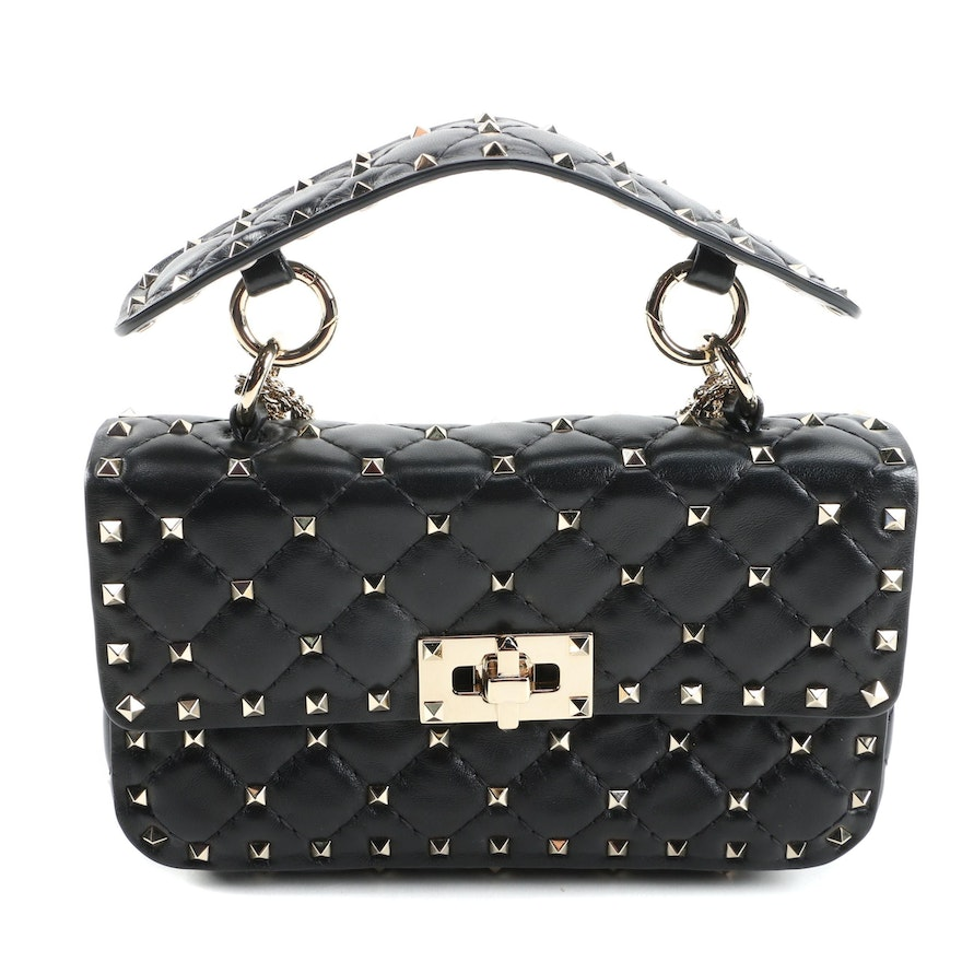Valentino Rockstud Shoulder Bag in Black Quilted Leather with Chain Strap