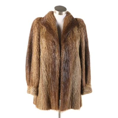 Natural Beaver Fur Jacket with Banded Cuffs, Vintage