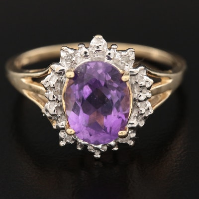 10K Yellow Gold Amethyst and Diamond Ring