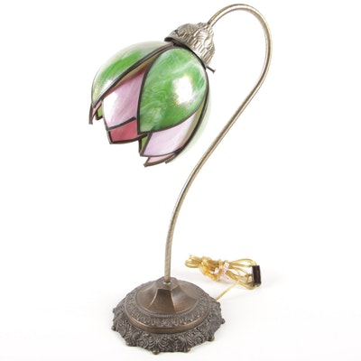 Tiffany Style Stained Glass Lotus Flower Table Lamp, Late 20th Century