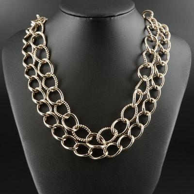 Salvatore Ferragamo Double Curb Chain Necklace