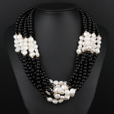 Beaded Black Onyx and Pearl Multi-Strand Necklace