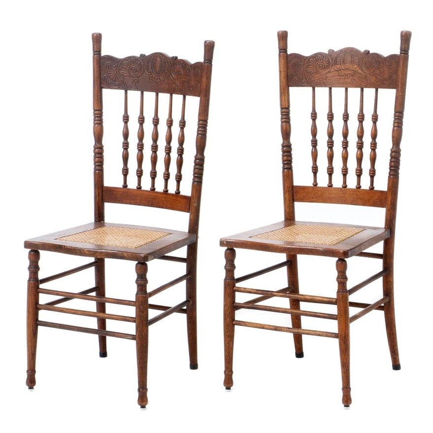 Pair of Late Victorian Oak Pressed-Back Side Chairs, Early 20th Century