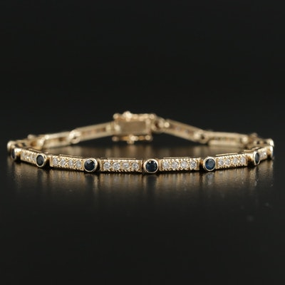 14K Yellow Gold Sapphire and Diamond Link Bracelet